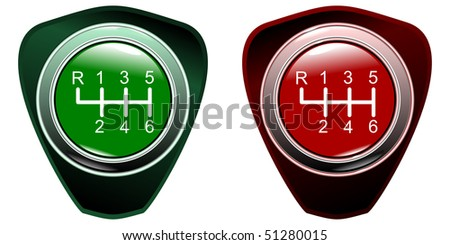 Vehicle's gear green and red colletion on white background eps10 - stock vector