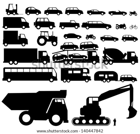 Vehicle silhouette vector - stock vector