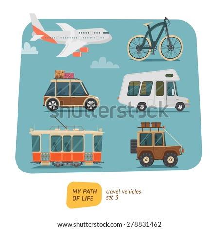 Vehicles collection vector illustration - stock vector