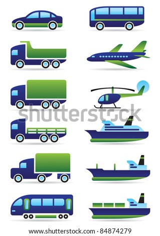 Vehicles icons set - vector illustration - stock vector