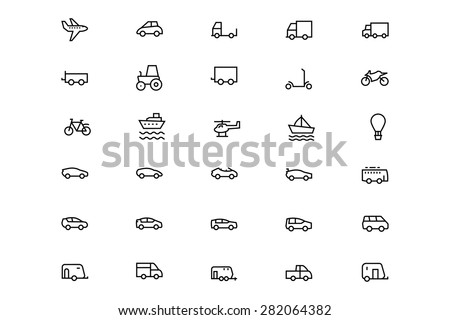 Vehicles Line Vector Icons 1 - stock vector