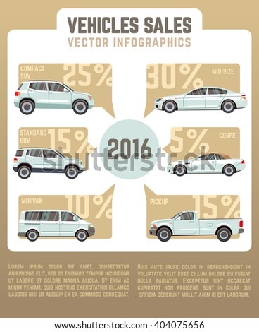 Vehicles sales vector infographics in flat style with car models. Vehicle business sale, service sale, vehicle retail, infographic sale illustration - stock vector