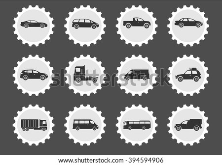 Vehicles  simply symbols for web and user interface - stock vector