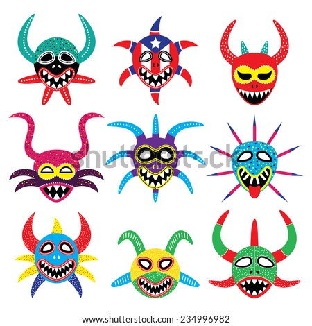Vejigante mask for Ponce Carnival in Puerto Rico icons  - stock vector