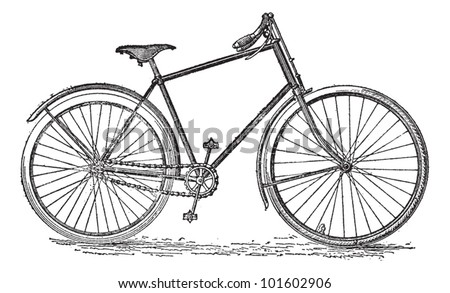 Velocipede bicycle, vintage engraved illustration. Dictionary of words and things - Larive and Fleury - 1895. - stock vector