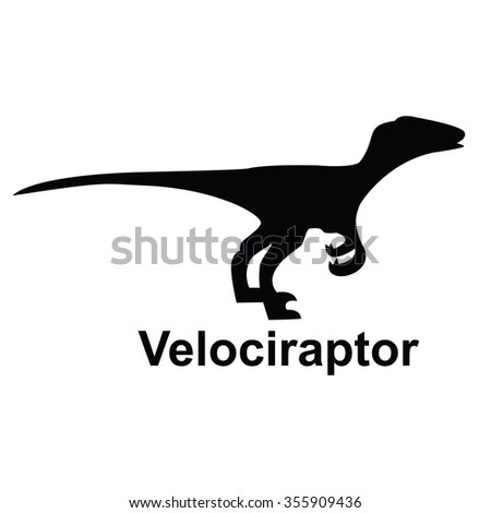 Velociraptor single silhouette on transparent background