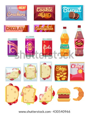 Vending machine products packaging. Fast food, snacks and drinks vector icons in flat style - stock vector
