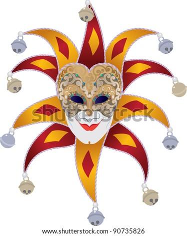 Venetian mask with bells jester - stock vector