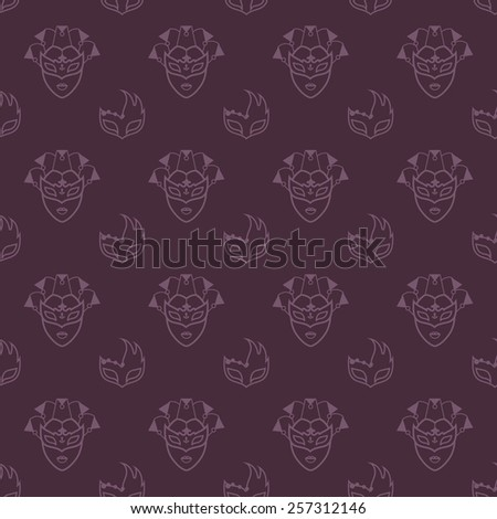 Venetian masks pattern - stock vector