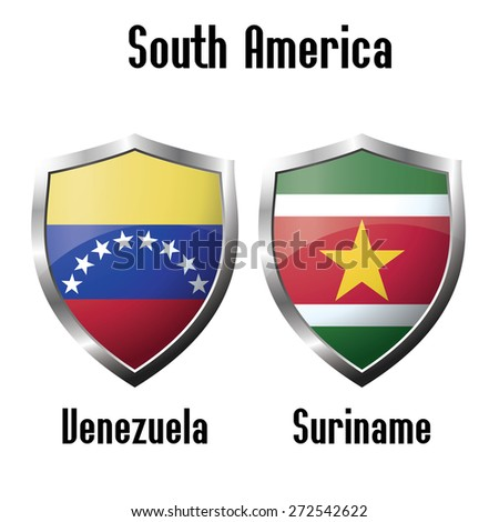 Venezuela and Suriname flag icons theme, vector