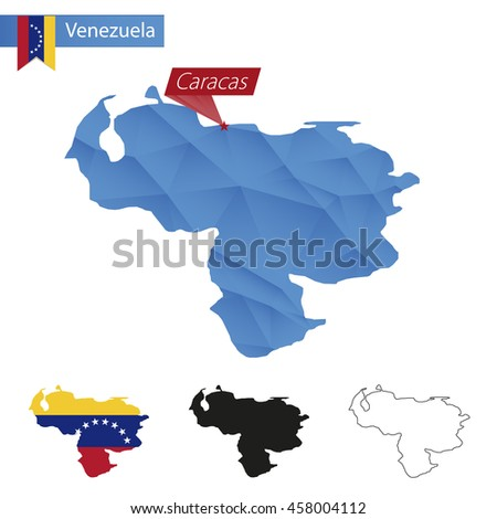 Venezuela blue Low Poly map with capital Caracas, four versions of map. Vector Illustration. - stock vector