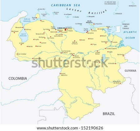 venezuela map - stock vector