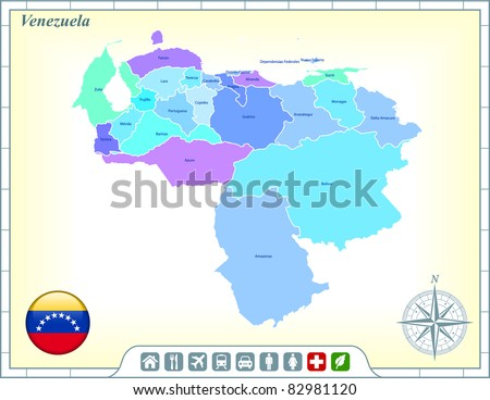 Venezuela Map with Flag Buttons and Assistance & Activates Icons Original Illustration - stock vector