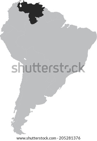 Venezuela vector map on South America, isolated on white background - stock vector