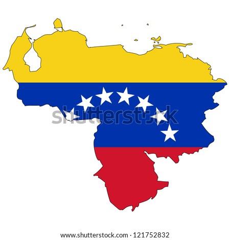 Venezuela vector map with the flag inside. - stock vector