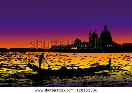 Venice by night - stock vector