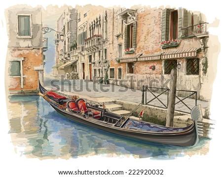Venice - Calle Fondamenta Megio. Ancient building & gondola. Vector drawing - stock vector