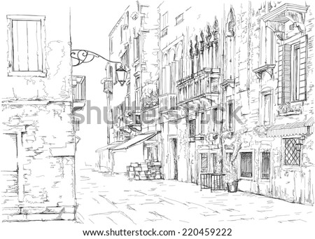 Venice - Calle Fondamenta Megio. Ancient building. Vector drawing - stock vector
