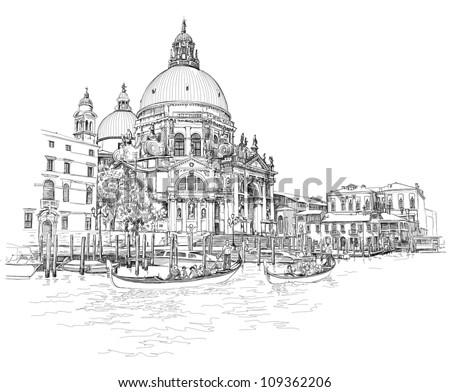 Venice - Cathedral of Santa Maria della Salute - vector drawing - stock vector