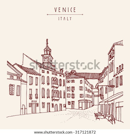 Venice city architecture, vintage engraved illustration, hand drawn. Venetian square with a cafe and a church tower. Retro style vector postcard or poster template, hand lettered title. Travel sketch - stock vector
