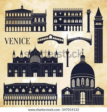 Venice detailed monuments silhouette. Vector illustration - stock vector
