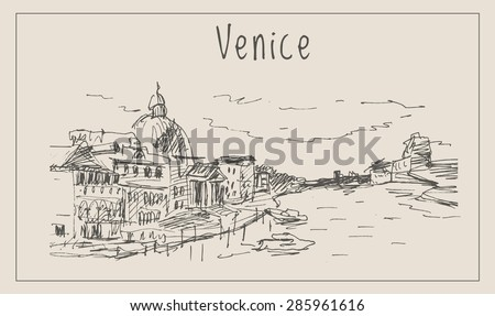 Venice  european city view landscape with yachts, gondolas, coast, pier, river and sea people, in urban sketch hand drawn style, for Italy travel and tourism business design