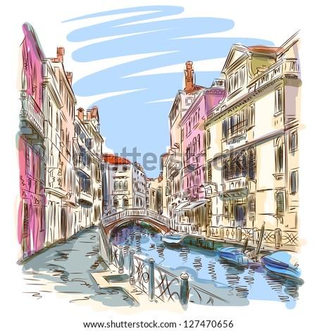 Venice - Fondamenta Rio Marin. Vector sketch. Eps10 - stock vector