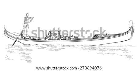 Venice - Grand Canal. Gondola floating on the water. Vector sketch - stock vector