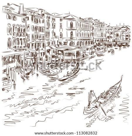 Venice - Grand Canal. The view from the Rialto Bridge. Vector sketch - stock vector