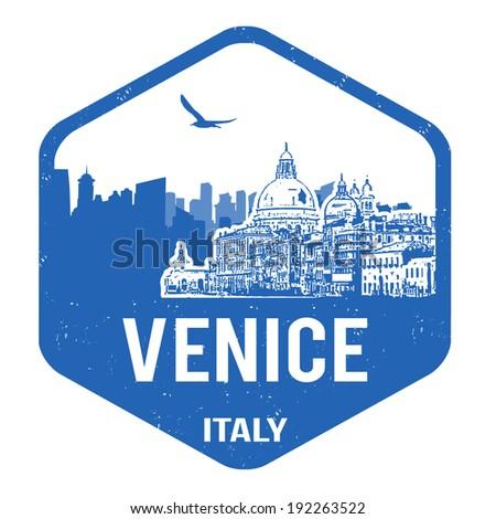 Venice grunge rubber stamp on white, vector illustration - stock vector
