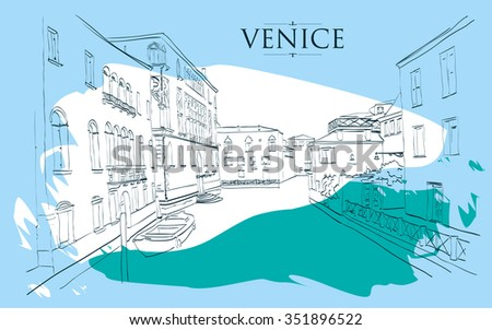 Venice houses. Vector drawing freehand blue vintage illustration - stock vector