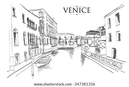 Venice houses. Vector drawing freehand vintage illustration - stock vector