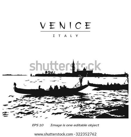 Venice (Italy, Europe) - canal with two gondolas and silhouette San Giorgio di Maggiore church. Vector image edited auto-trace of author's photo. - stock vector