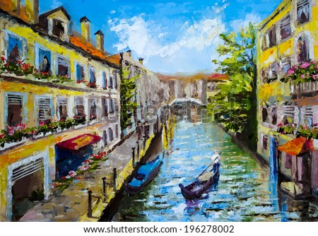 Venice, Italy - oil painting style - stock vector
