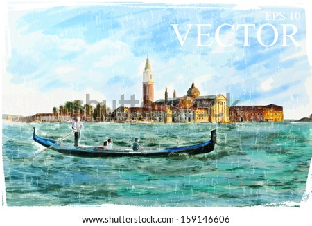 Venice, Italy - Piazza San Marco, watercolor style - stock vector