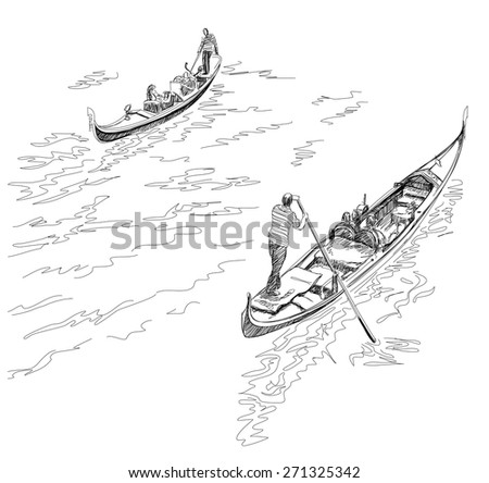 Venice. Italy. The gondoliers floats on a gondola with tourists. Vector black & white sketch