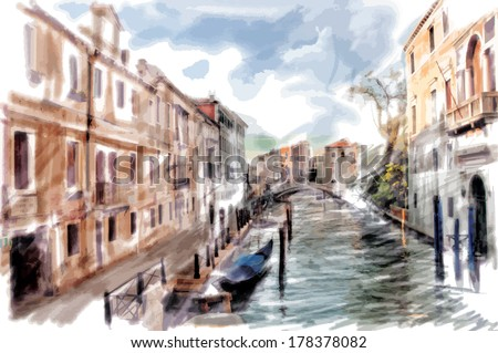 Venice, Italy - watercolor style - stock vector