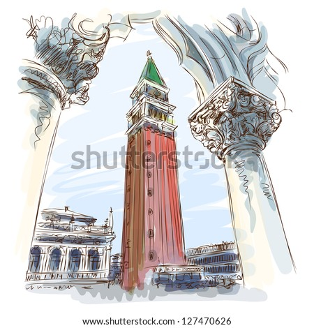 Venice - Piazza San Marco and Kampanila. View from the Doge's Palace. Vector sketch. Eps10 - stock vector