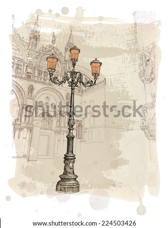 Venice. Piazza San Marco. lantern on St. Mark's Square. Vector illustration. Eps10 - stock vector