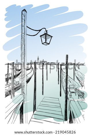 Venice. Quay Piazza San Marco. Gondolas on the water & the view of the island of San Giorgio Maggiore. Vector drawing. Eps10 - stock vector