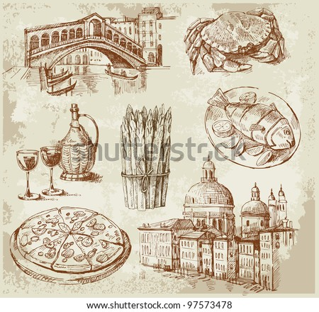 venice set - stock vector