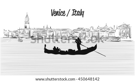 Venice skyline with Gondola, Hand drawn Vector Sketch, Outline Silhouette  - stock vector
