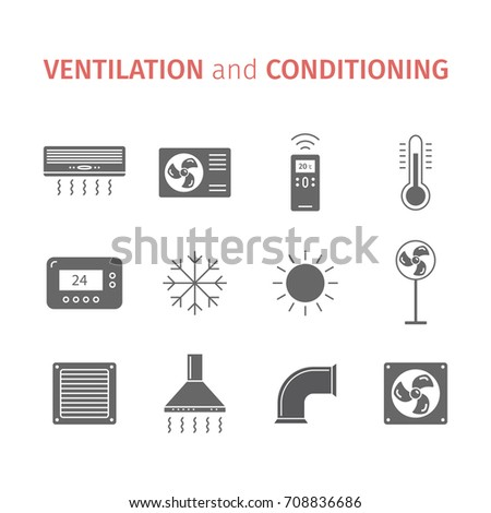 Ventilation and conditioning. Climate control icon set. Vector illustration.