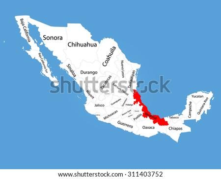 Veracruz Mexico Vector Map Silhouette Isolated Stock Vector