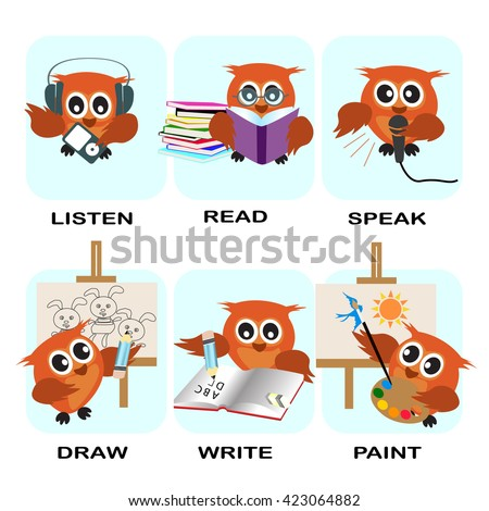 verb word vector background for preschool.verb set (listen read speak draw write paint).vector illustration. - stock vector