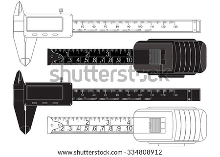 Vernier caliper, digital electronic tool. Roulette measure. Vector isolated on white background. - stock vector