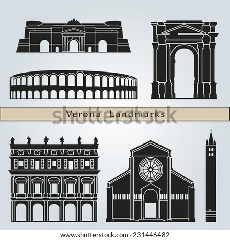 Verona landmarks and monuments isolated on blue background in editable vector file - stock vector