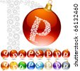 Versatile set of alphabet symbols on Christmas balls. Letter p - stock photo