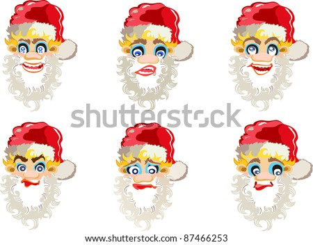 versions of Santa Claus - stock vector