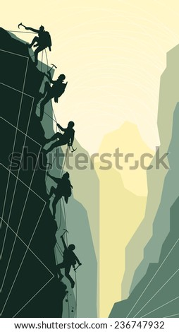 Vertical abstract illustration of alpinists (climbers) with ice ax. - stock vector